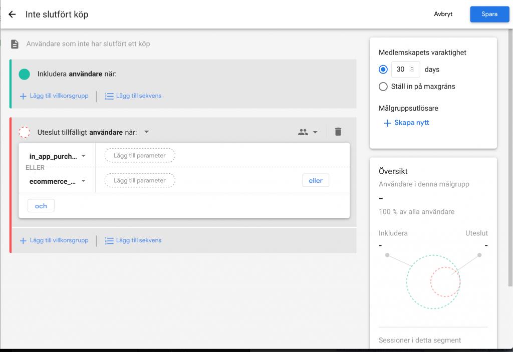 Skapa anpassade målgrupper i Google Analytics 4